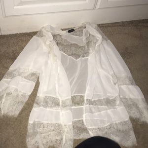 White sheer lace cardigan light material